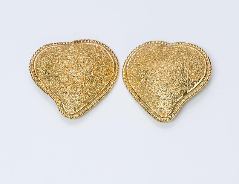 Yves Saint Laurent YSL Gold Tone Heart Earrings 2