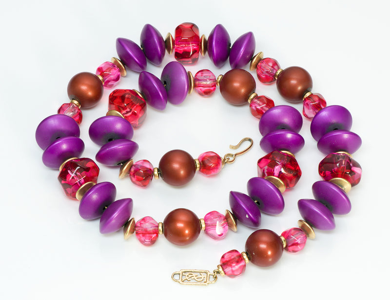 Yves Saint Laurent YSL Pink Purple Beads Necklace