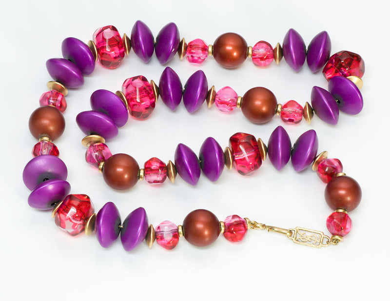 Yves Saint Laurent YSL Pink Purple Beads Necklace1