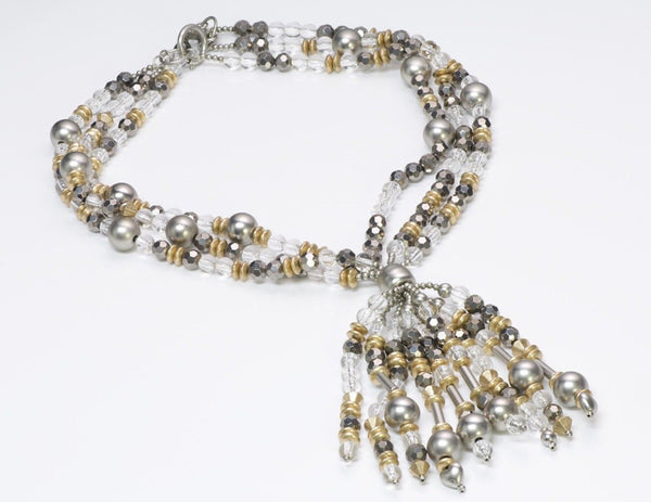 Yves Saint Laurent YSL 1970's Beaded Tassel Necklace