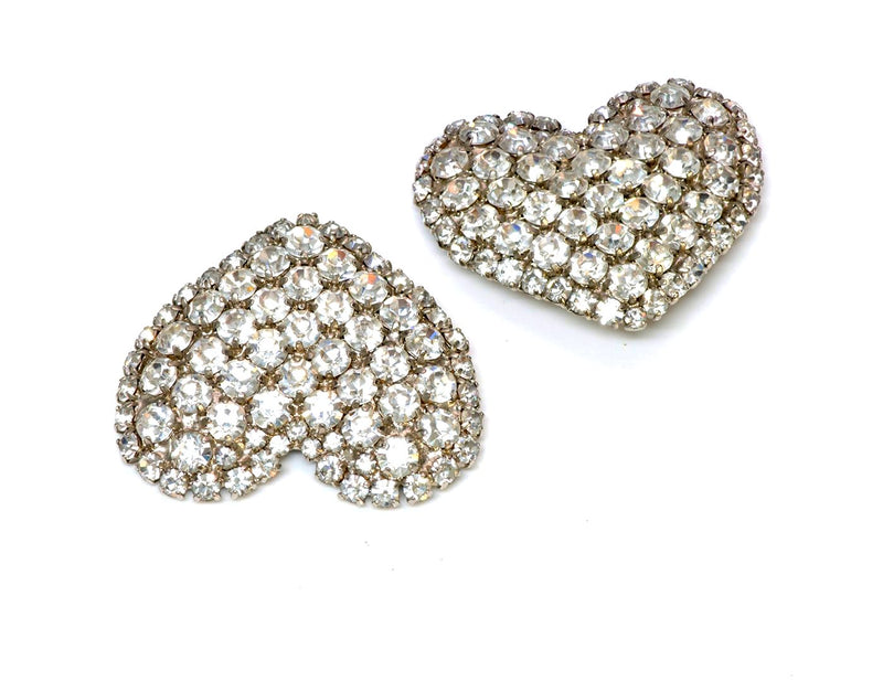 Yves Saint Laurent YSL 1970's Rive Gauche Heart Crystal Earrings