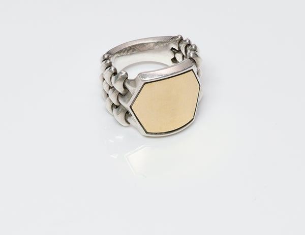 David Yurman Armory Signet Gold & Silver Ring