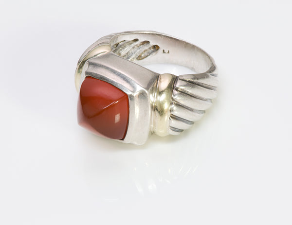 David Yurman Sugarloaf Carnelian Silver Gold Ring 1