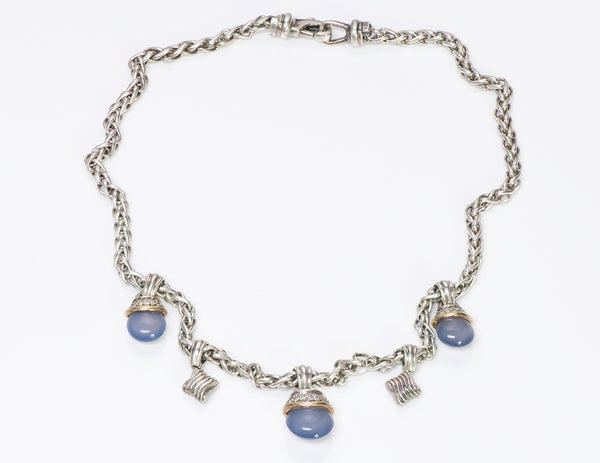 David Yurman Gold Chalcedony Diamond Acorn Necklace