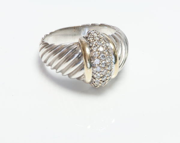 David Yurman 18K Gold Silver Diamond Ring