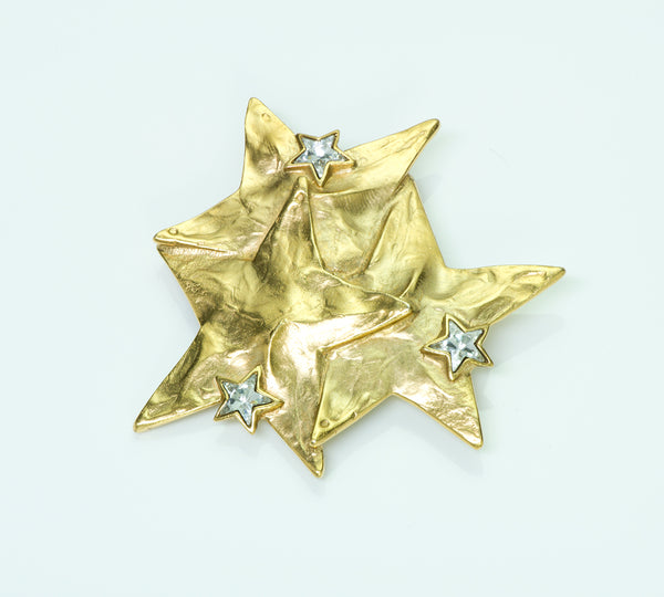 Yves Saint Laurent Rive Gauche Gold Tone Star Brooch/Pendant