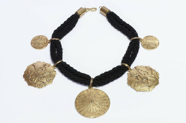 Yves Saint Laurent Japonesque Style Medallion Coin Rope Necklace