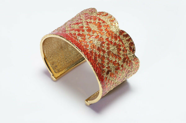 Yves Saint Laurent Orange Enamel Metal Lace Cuff Bracelet