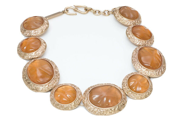 Yves Saint Laurent YSL Byzantine Style Faux Amber Glass Necklace
