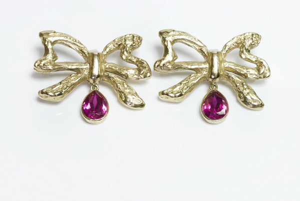 Yves Saint Laurent YSL Crystal Bow Earrings
