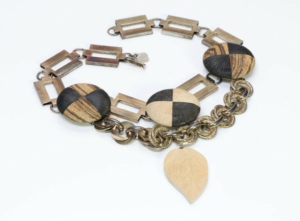 Yves Saint Laurent YSL Rive Gauche African Collection Chain Wood Necklace