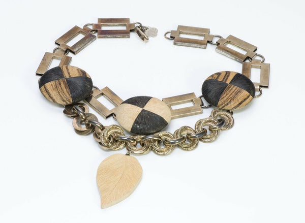 Yves Saint Laurent YSL Rive Gauche 1967 African Collection Chain Wood Necklace
