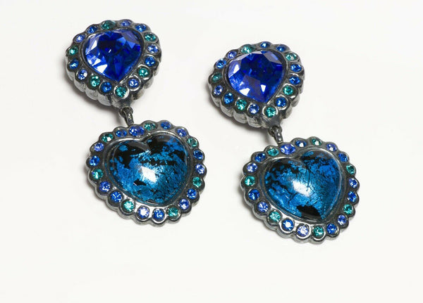 Yves Saint Laurent YSL Rive Gauche Long Blue Green Crystal Glass Heart Earrings