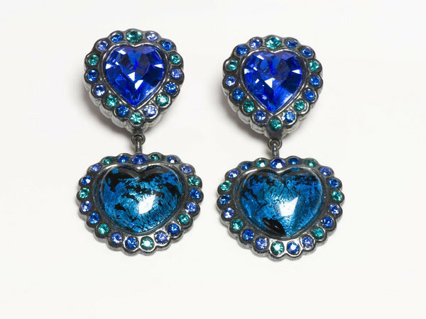 Yves Saint Laurent YSL Rive Gauche Crystal Glass Heart Earrings