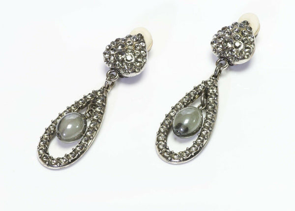 Yves Saint Laurent YSL Rive Gauche Long Silver Tone Crystal Heart Drop Earrings