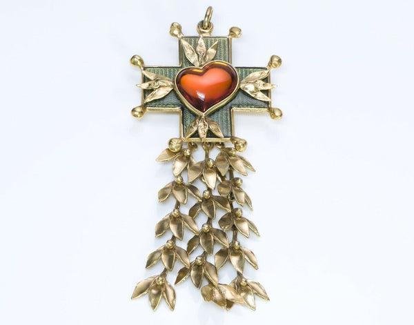 Yves Saint Laurent Rive Gauche Goossens Heart Cross Brooch