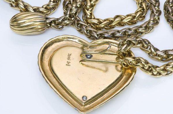 Yves Saint Laurent YSL Crystal Heart Chain Tassel Belt 3