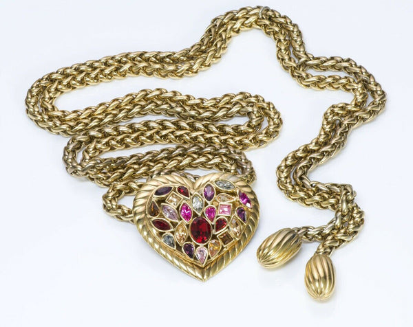 Yves Saint Laurent YSL Crystal Heart Chain Tassel Belt