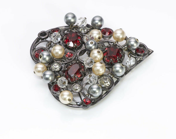 Yves Saint Laurent YSL 1980's Crystal Pearl Heart Pendant Brooch