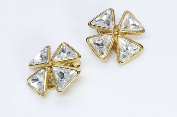 Yves Saint Laurent YSL Crystal Maltese Cross Earrings2
