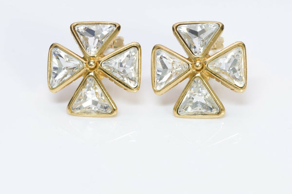 Yves Saint Laurent YSL Crystal Maltese Cross Earrings