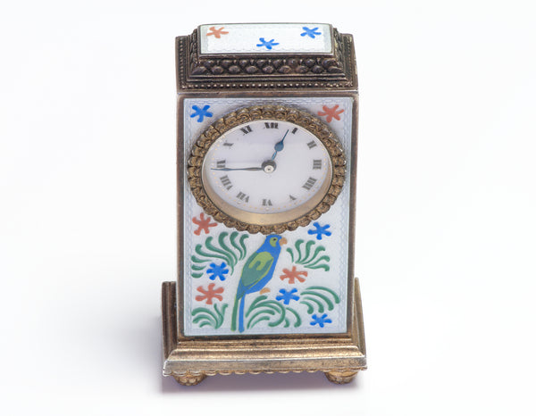Zenith Antique Sterling Enamel Clock Miniature