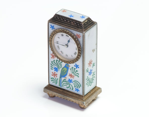 Zenith Antique Sterling Silver & Enamel Clock