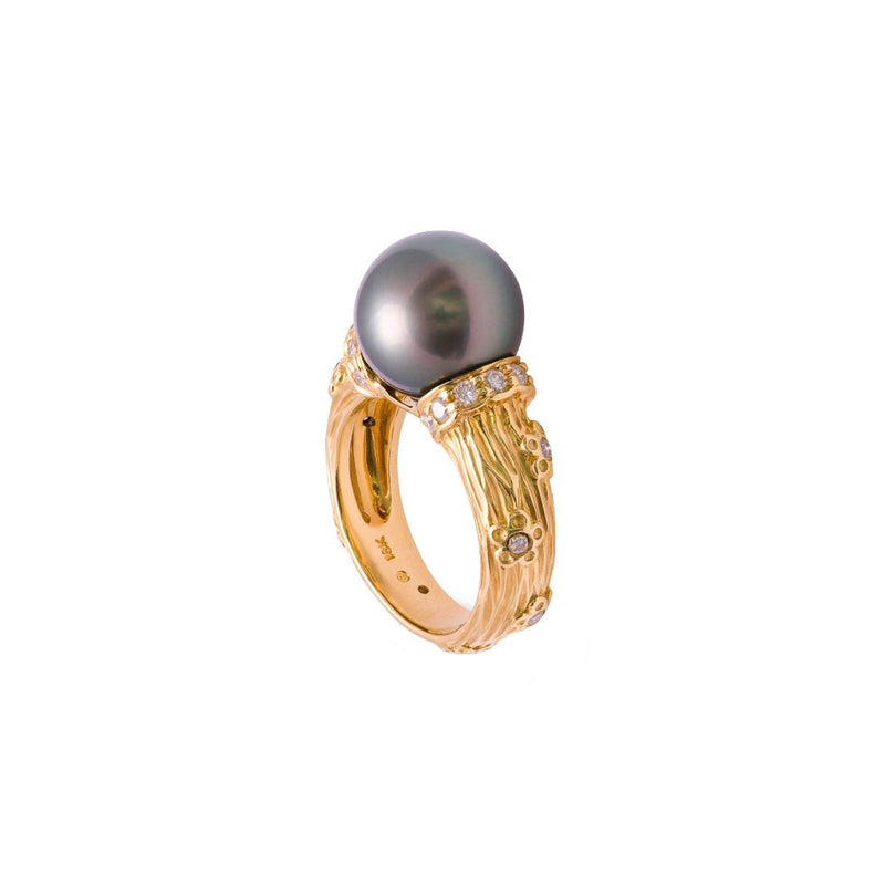 Tahitian Pearl 18K Yellow Gold Diamond Ring