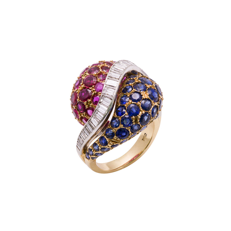 Sapphire Ruby and Diamond Ring