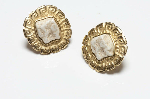 Givenghy Paris Gold Plated White Stone Earrings