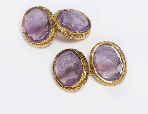 Antique Gold Amethyst Cameo Cufflinks