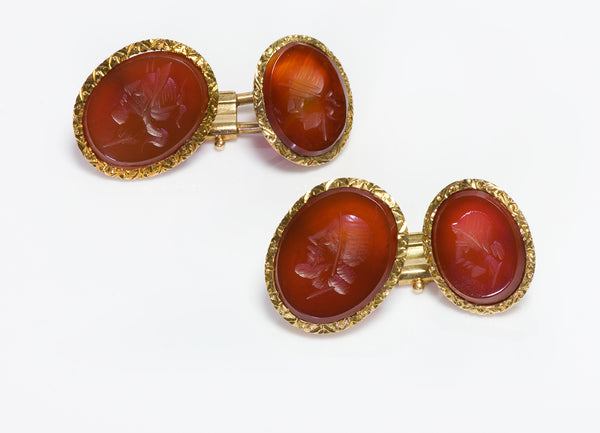 Antique 18K Gold Carnelian Intaglio Cufflinks