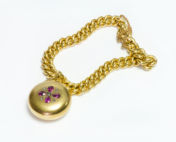 Antique 18K Gold Chain Link Bracelet Charm Locket
