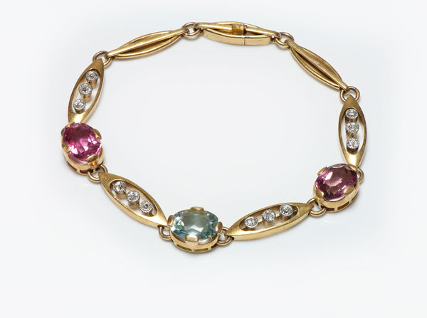 Antique Gold Pink Tourmaline Aquamarine & Diamond Bracelet