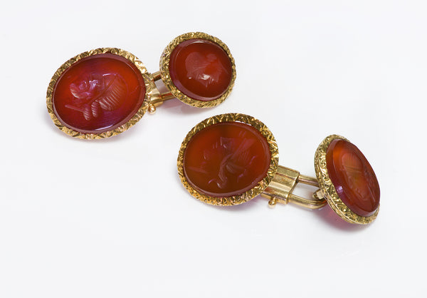 Antique Carnelian Intaglio 18K Gold Cufflinks