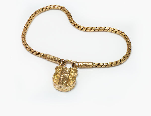 Antique Gold Padlock Bracelet