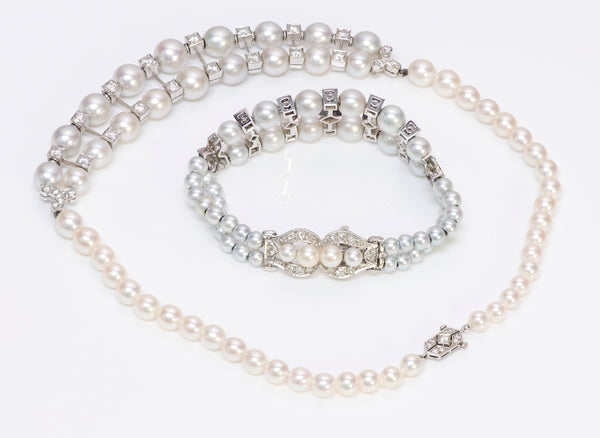 Art Deco Pearl Diamond Necklace Bracelet