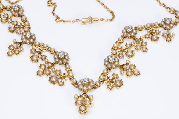 Victorian Gold Diamond and Pearl Necklace