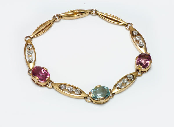 Antique Gold Tourmaline Aquamarine Bracelet