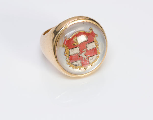 Antique Men's Y Gold Reverse Crystal Crest Ring