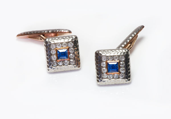 Antique Gold Diamond & Sapphire Cufflinks