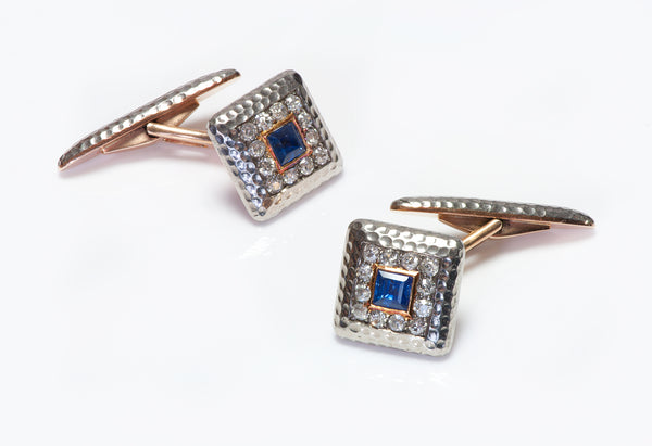 Antique Gold Diamond Sapphire Cufflinks 18k
