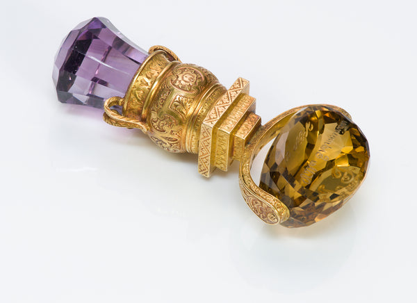 Antique Victorian Amethyst Citrine Engraved Gold Seal