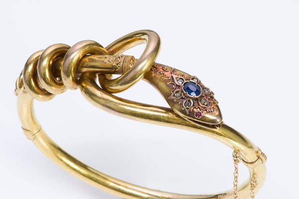 Antique Victorian Snake Gold Sapphire Diamond Ruby Bangle Bracelet