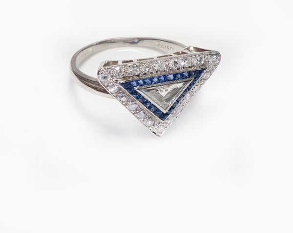 Art Deco Platinum Triangle Shape Diamond Sapphire Ring
