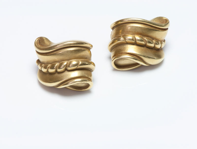 Barry Kieselstein-Cord 18K Gold Scroll Earrings