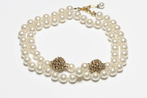 CHANEL Paris 1980's Crystal Pearl Strand Necklace