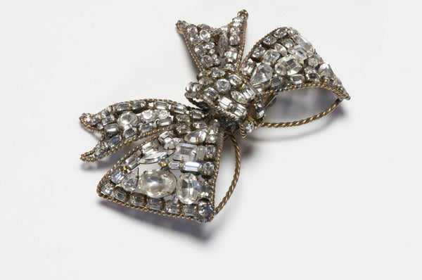 Lawrence Vrba Large Crystal Bow Brooch