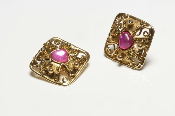 Christian Lacroix Paris Gold Plated Pink Glass Maltese Cross Earrings