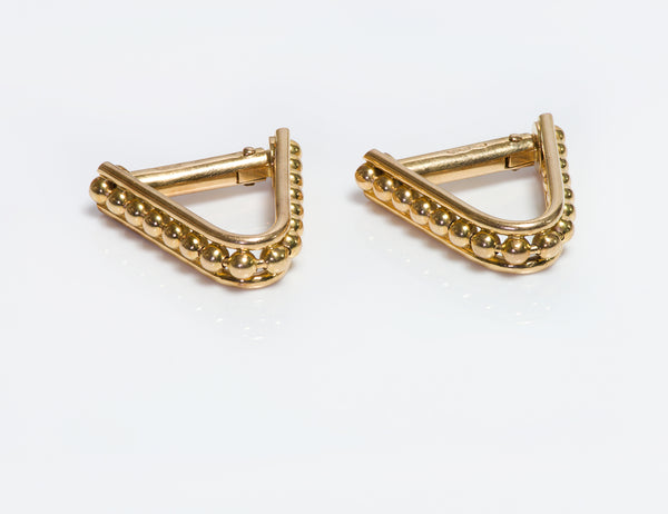 Cufflinks French 18K Gold Beaded Stirrup Cufflinks